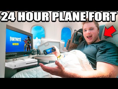 24 Hour First Class Plane Fort Challenge! 📦✈️ Tv, Gaming, Food & More!