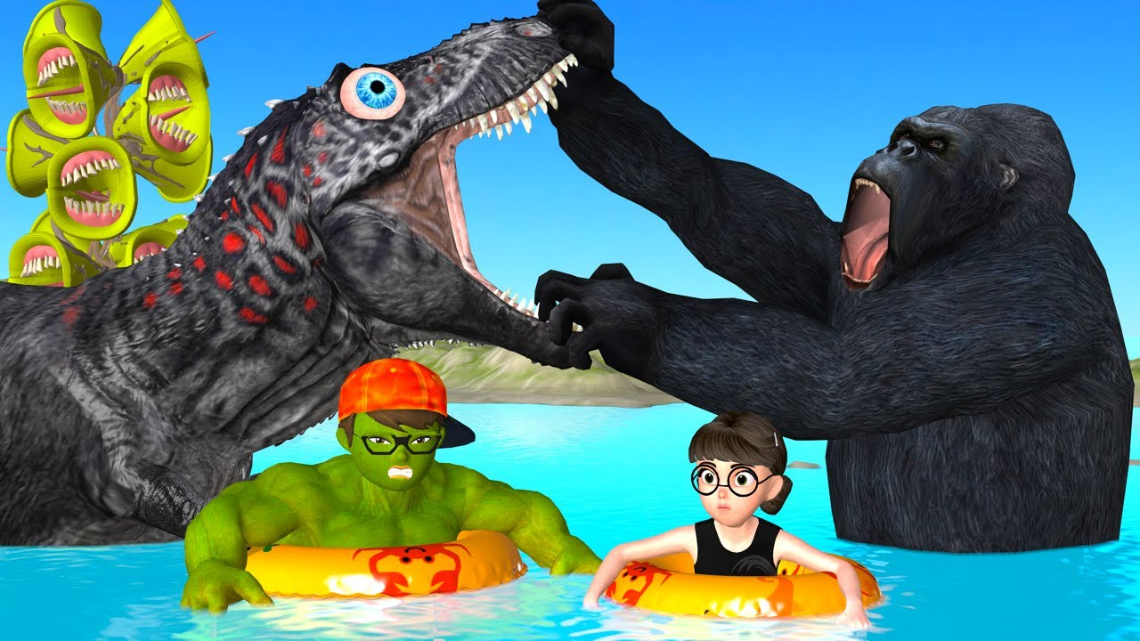 Scary Teacher 3D Kong Gorilla Rescue NickHulk and Tani in Pool with Siren Head Mods Hulk Ride Dino