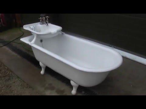 Unique Antique Reclaimed Cast Iron Bath with Built in Sink - Bathroom UKAA