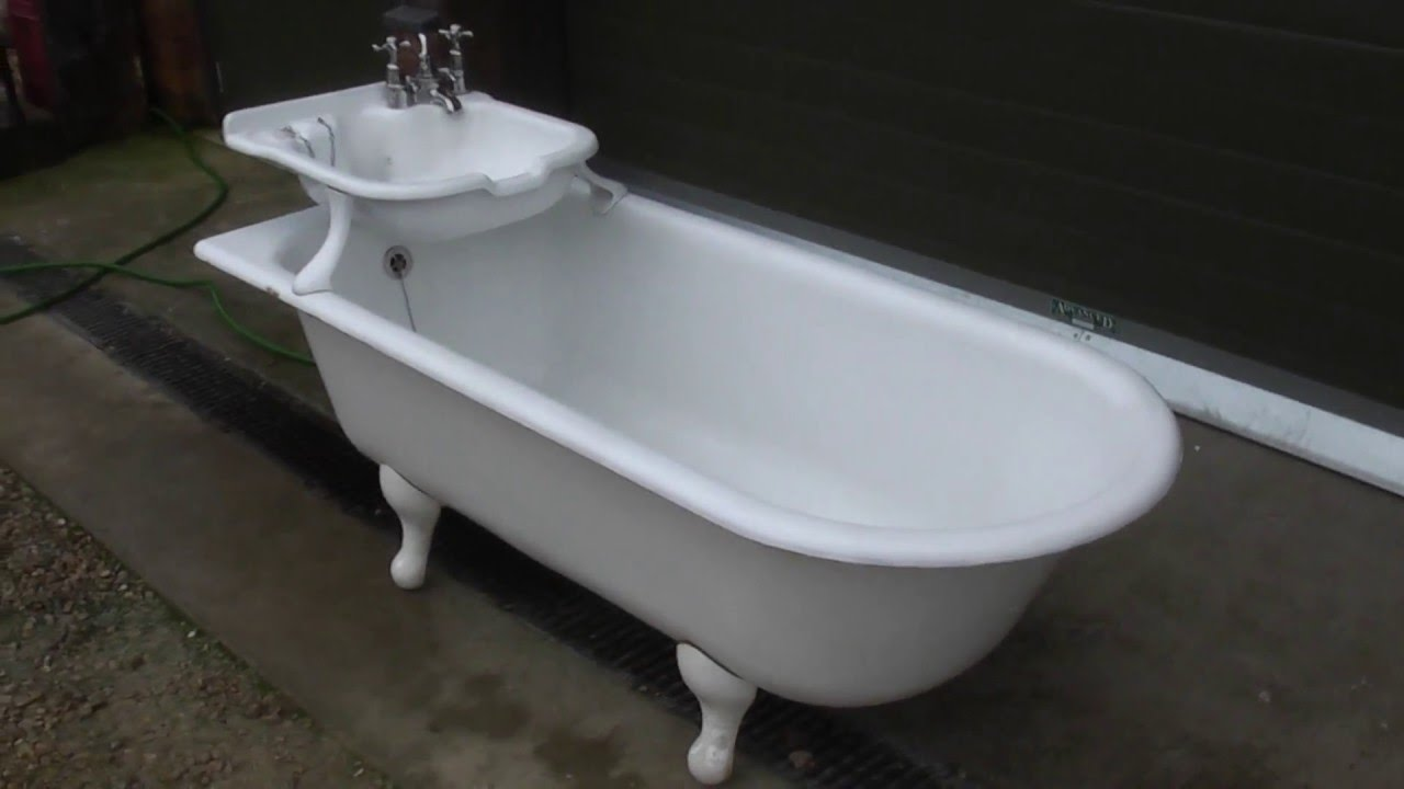 Unique Antique Reclaimed Cast Iron Bath With Built In Sink