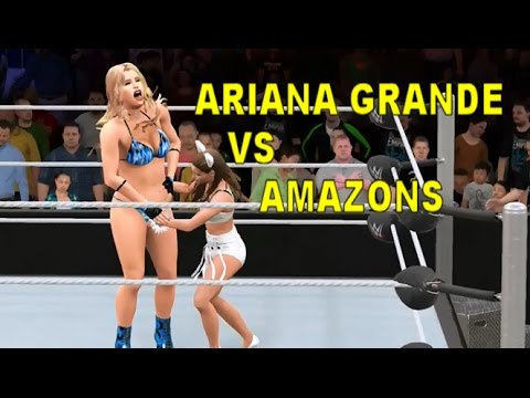 WWE 2K17 Ariana Grande vs Bikini Amazons - Handicap Match: Popstar Ariana Grande is back in the ring, this time facing two members of the Bikini Squad, Ellen and Ellie in a handicap match.  All Caws are mine. Ariana can be downloaded from Community Creations (xbox one) right now.
