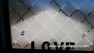 Window Treatment Under $10 - Faux Frosted Glass Tutorial Moroccan Tile Pattern