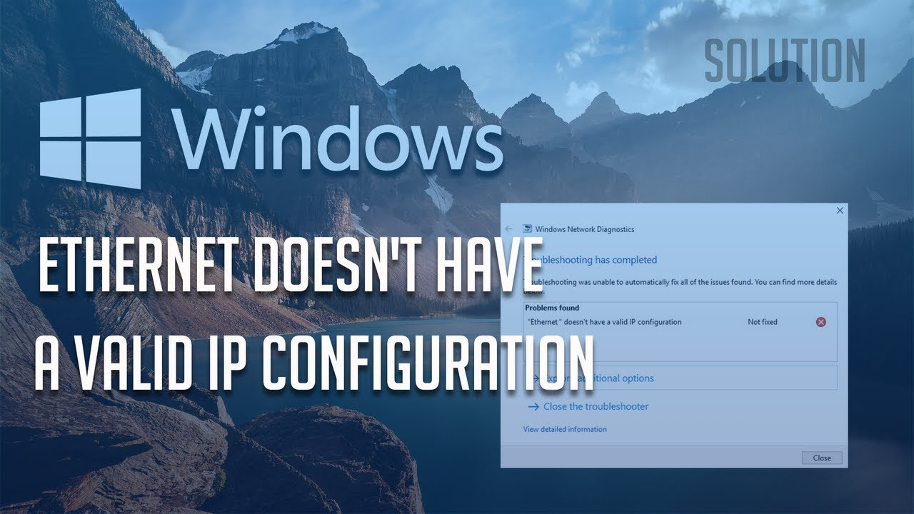 how to fix ethernet no valid ip configuration
