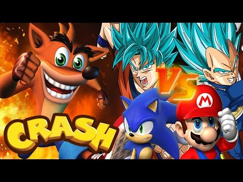 Crash Bandicoot vs Mario Sonic Goku | Crash Meets DBZ | DBZ Tenkaichi 3 (MOD)