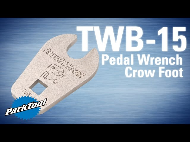 "An overview of the TWB-15 Pedal Wrench Crow Foot.  TWB-15 webpage http://www.parktool.com/product/pedal-wrench-crow-foot-twb-15  The TWB-15 is used with any 3/8"" drive torque wrench to verify pedals are torqued to the correct spec.  Laser cut, heat treated and plated for long life."