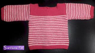 Кофточка спицами для малышей (4-6 месяцев). Вязание для начинающих # 414