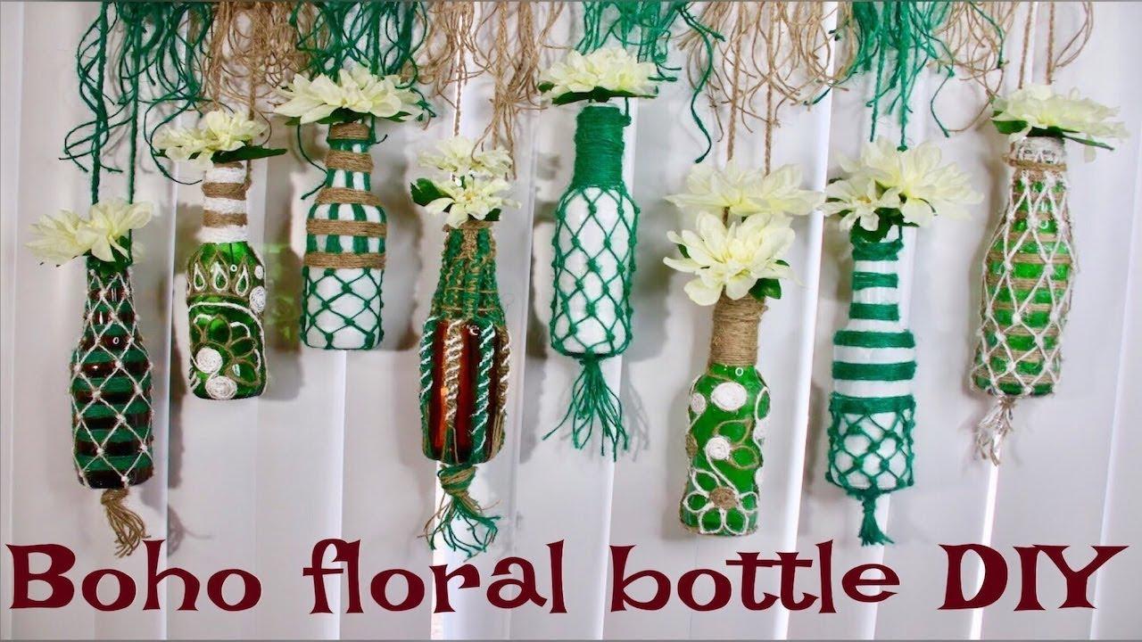 Diy How To Reuse Bottles Bohemian Spring Decor Glass Bottle
