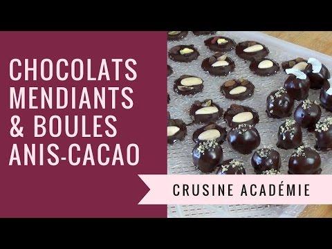 Chocolats mendiants et boules anis/coco