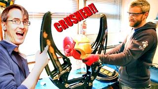 Iron Man Helmet CRUSHED in Hydraulic Jaws!! - XRobots