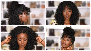 7 Easy Hairstyles For Curly Wigs With Bangs | Beginner Friendly | My First Wig