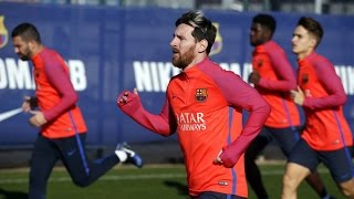 Fc barcelona training session: nine from b join wednesday