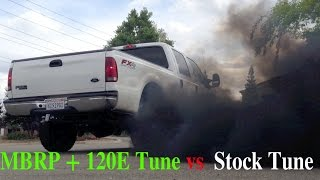 2002 F250 7.3 Diesel + DP Tuner + 120 Tune + MBRP Exhaust vs Stock Tune F 250