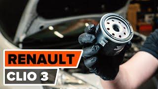 Cómo cambiar Filtro aceite RENAULT CLIO III (BR0/1, CR0/1) - vídeo gratis en línea