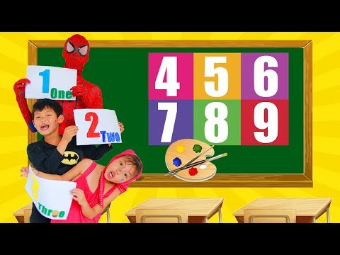 Thumbnail: School colors Spiderman Fishing in the lake Joker thief spinner w/ Superman paint Number Learn Color