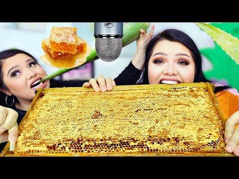 We Tried ASMR.. Giant Raw Honeycomb, Aloe Vera +more (Sticky Crunchy Sounds)