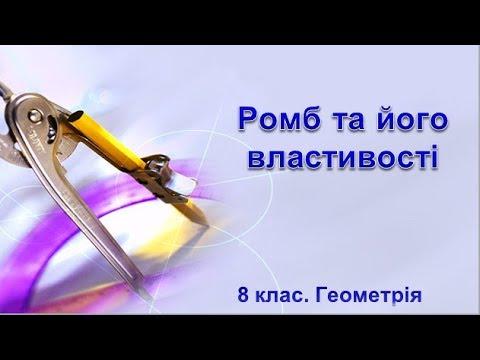8 клас. Геометрія. Ромб та його властивості