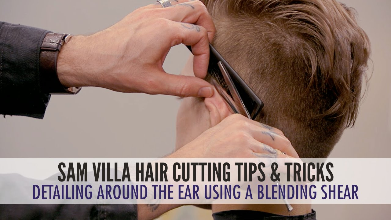Detailing around the ear with a blending shear mens haircut youtube solutioingenieria Images