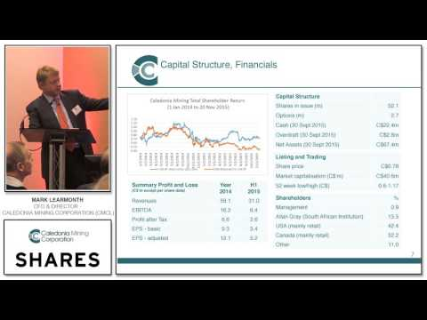 Mark Learmonth, CFO & Director - Caledonia Mining Corporation (CMCL)