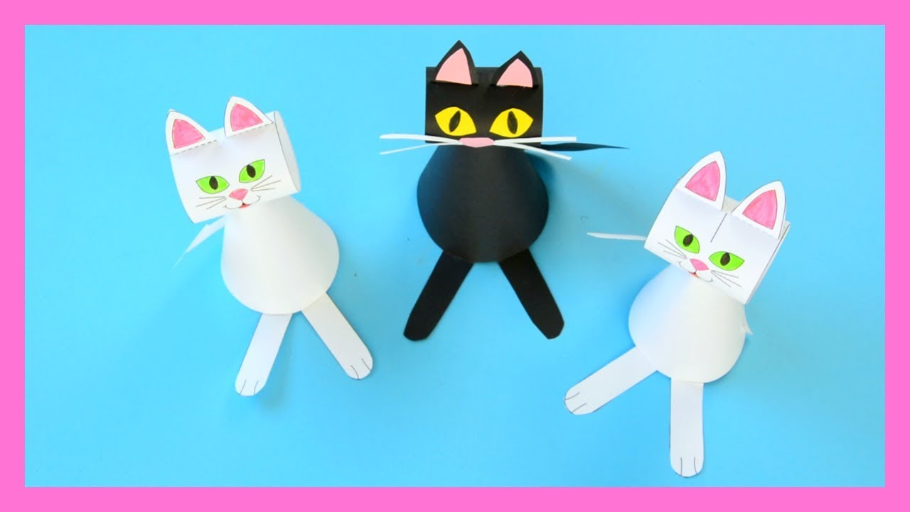 Paper Cat Template Craft For Kids Halloween Crafts For Kids Youtube