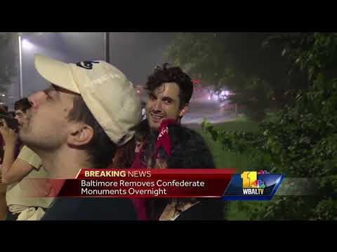 Video: Crews remove Baltimore's Confederate statues overnight