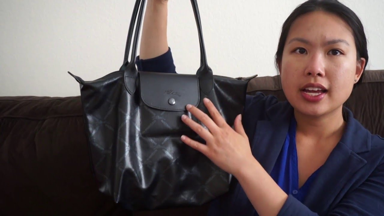 c379337938a7 Longchamp Metallic Equestrian Grid tote review - YouTube