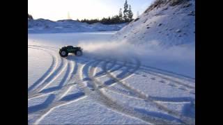 Nice drift monster truck in the snow - RC car monster