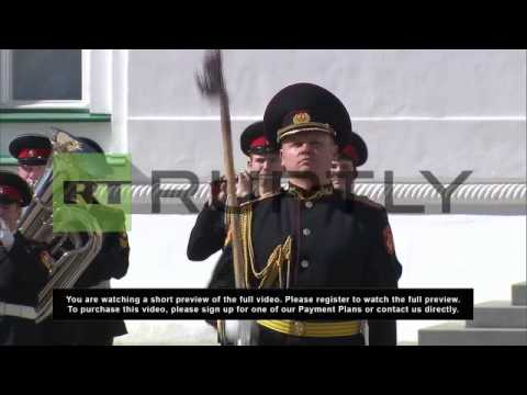 Russia: Presidential Regiment guards parade in Kremlin's Cathedral Square