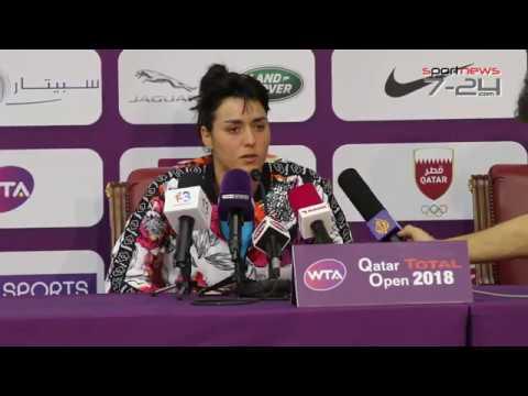 Conférence de presse Ons jabeur apres match Qatar Total Open 2018