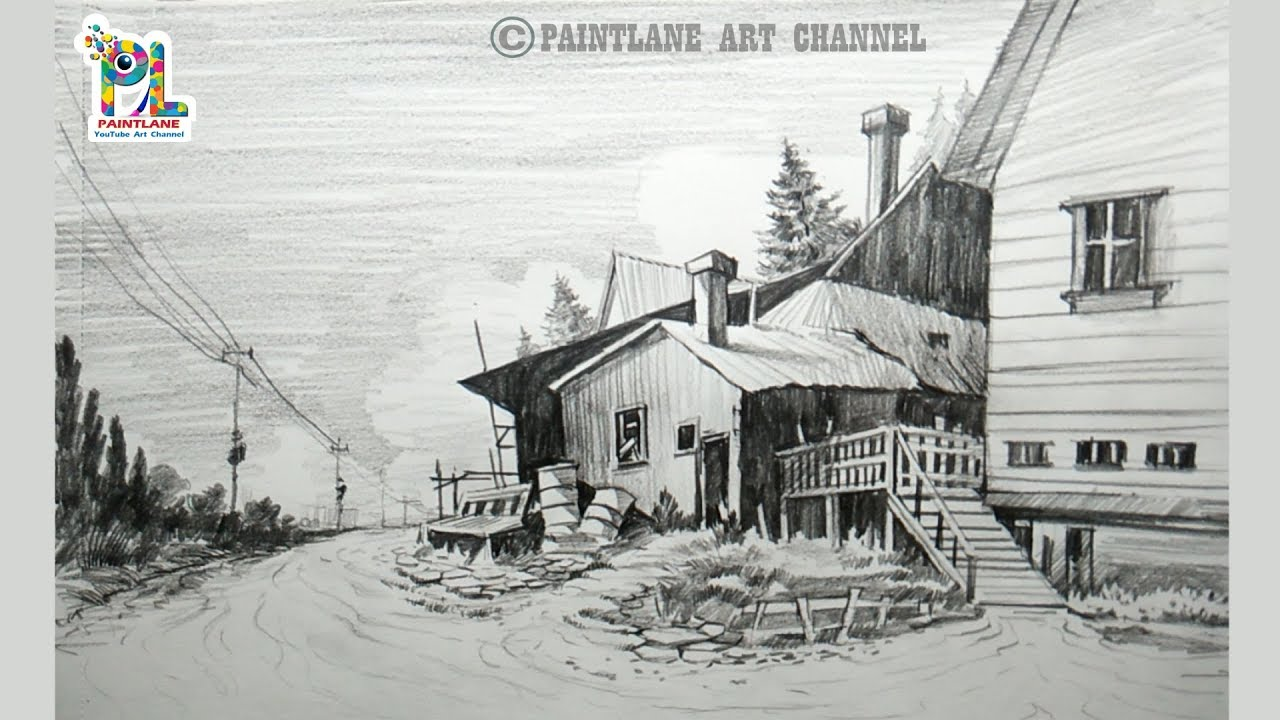 How to Sketching and Shading A Landscape Art   Drawing ...
