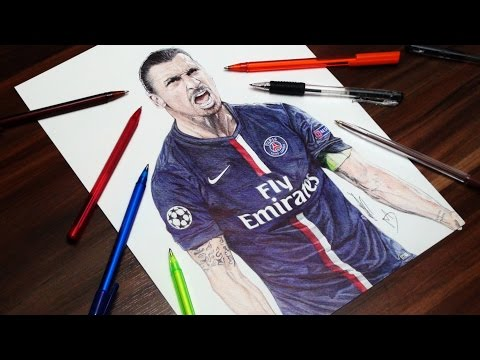 Zlatan Ibrahimovic Pen Drawing - PSG - DeMoose Art