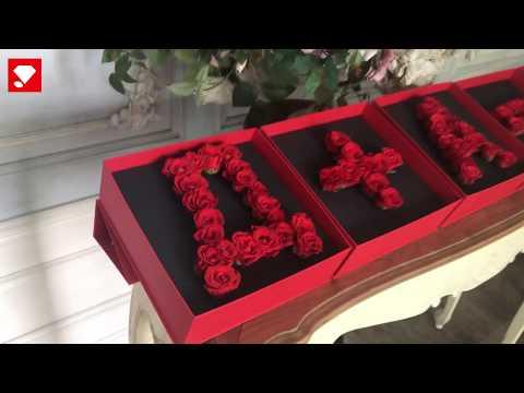Коробка-буква Композиция из 5 букв красная