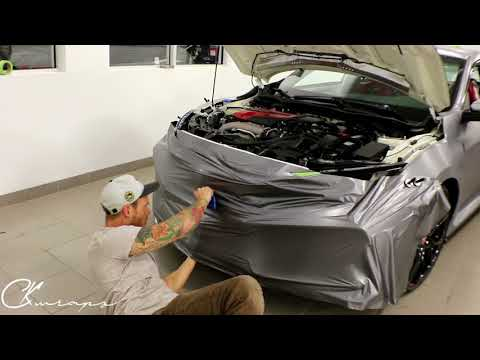 How To Vinyl Wrap A FRONT Bumper In Brushed Metal On A  Honda Civic Typer R  By @ckwraps