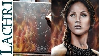 Katniss Everdeen Hunger Games Speed Painting - acrylic & airbrush by Lachri