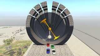 Beamng drive - Giant two-blade Propeller against Cars