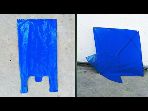 How to make a kite at home with plastic bag step by step