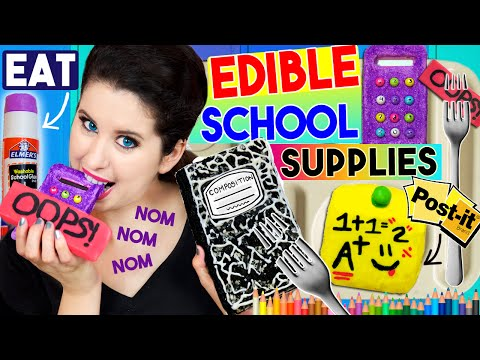 Thumbnail: DIY Edible School Supplies | EAT Your Calculator, Notebook, Glue Stick, Eraser & Post-It Notes!