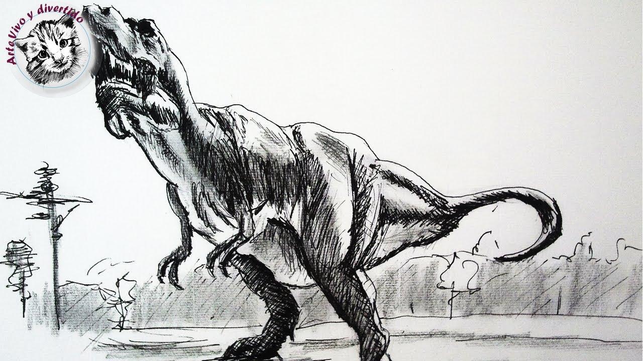 Como dibujar un dinosaurio con lapiz y tinta paso a paso | Dibujar ...
