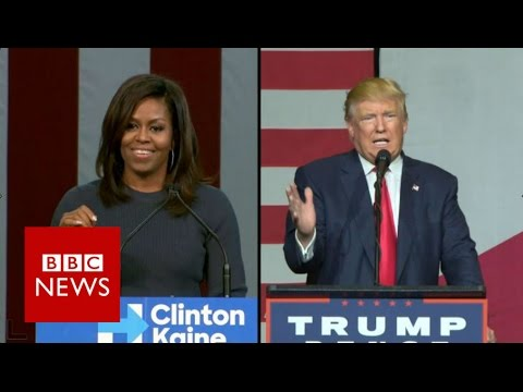 Michelle Obama and Donald Trump's duelling speeches - BBC News
