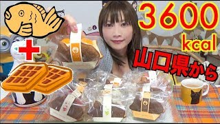 【MUKBANG】 [Taiyaki + Waffles] 12 Yamaguchi's Taiyaki Sweets With Plenty OF Fruits! 3600kcal[Use CC]