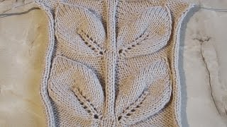 Объемные большие листья Вязание спицами Видеоурок 100