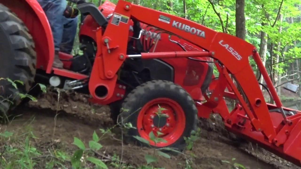 #48 Kubota Power, Mowing Trail, Moving Dirt, Digging Stumps