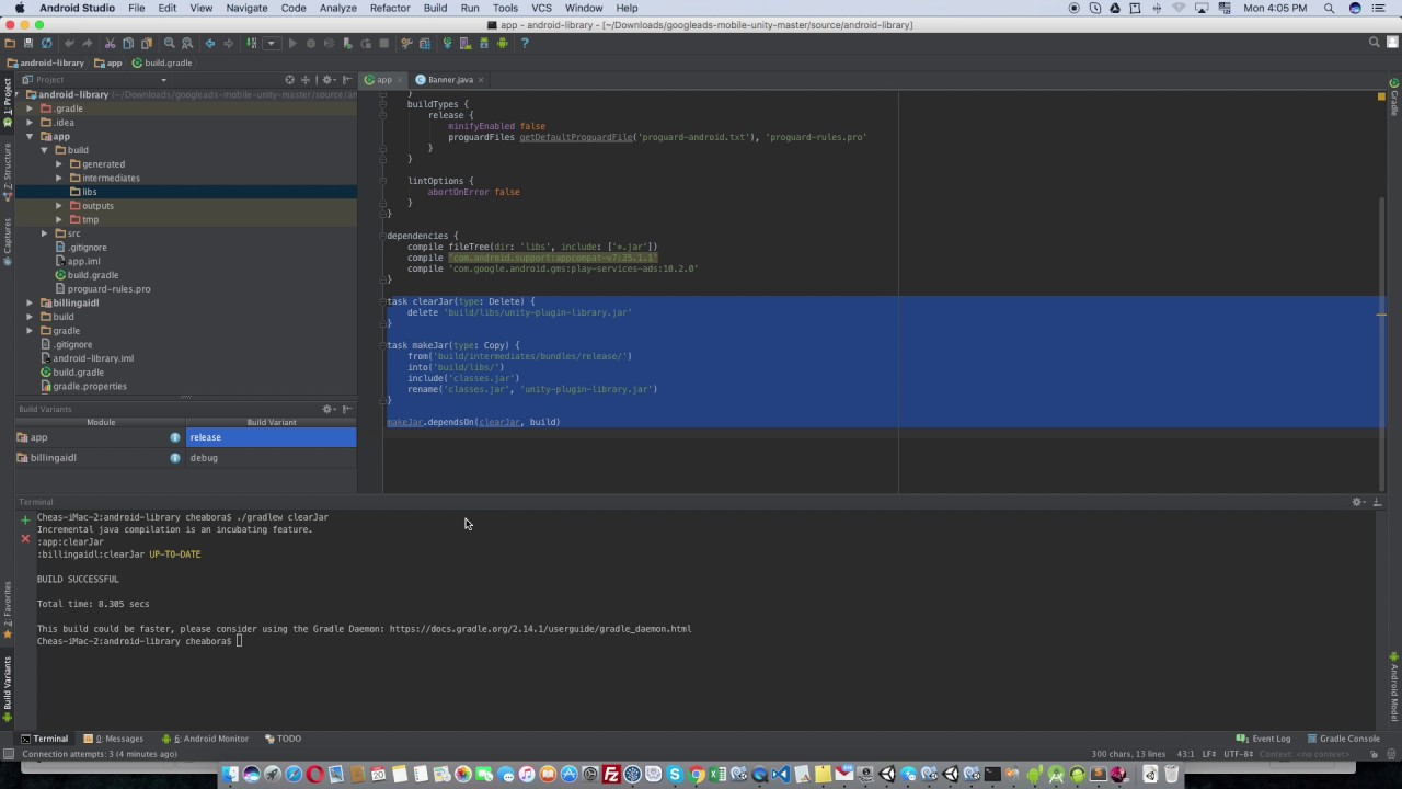 How to make jar file in Android Studio