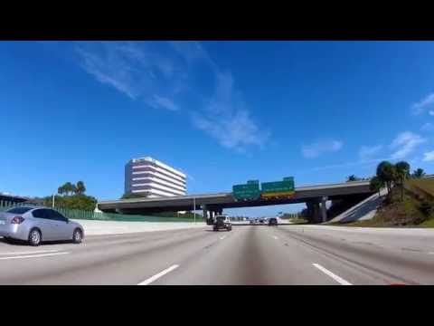 Driving on I95 from Fort Lauderdale to Boca Raton, Florida