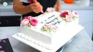 Nice cake decorating with just roses - Trang trí bánh sinh nhật đẹp chỉ với hoa hồng