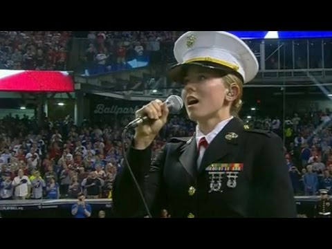 WS2016 Gm7: Marine 1LT sings before game
