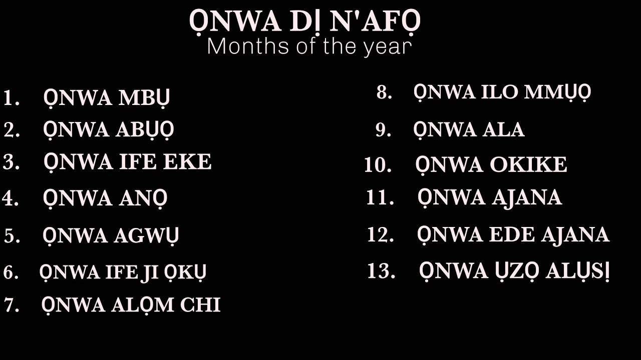 Download Igbo language, months of the year |lesson 7