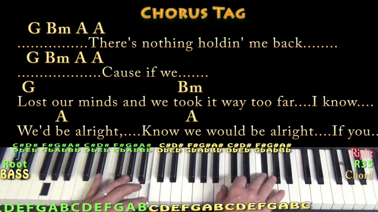 There S Nothing Holdin Me Back Shawn Mendes Piano Lesson Chord Chart In Bm Chords Lyrics Youtube