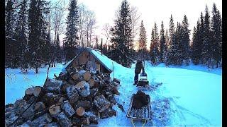 Жизнь и быт в тайге. Запасаемся дровами. Таёжная кухня.