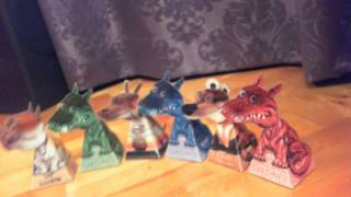 MIX of optical illusion - dragons, dog, cat and bear - origami paper craft