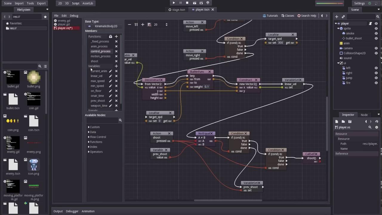 Character Controller using Godot Visual Script